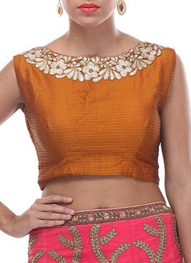 Carrot Orange Embellished Silk Blouse