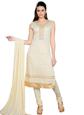 Chanderi Cotton Silk Cream Churidar Suit