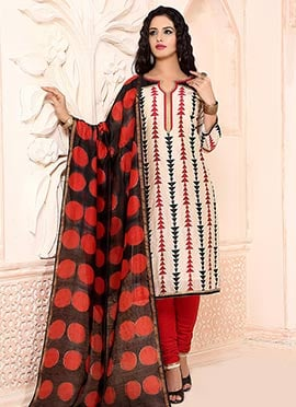 Chanderi Silk Cream Churidar Suit