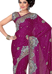 Charismatic Look Crystals Enhanced Chiffon Saree