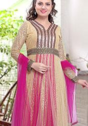 Charming Beige N Pink Net Jacquard Anarkali Suit