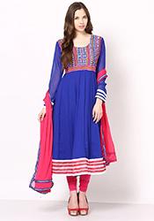 Charming Blue Georgette Kalidar Suit