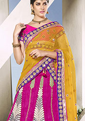 Charming Pink Art Silk A Line Lehenga Choli