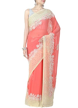 Chiffon Coral Peach N Cream Embellished Saree