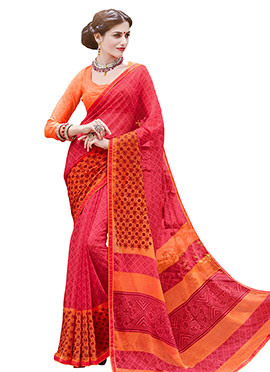 Chiffon Pinkish Red Foliage Patterned Saree