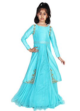 Chiquitita By Payal Bahl Aqua Blue Kids Gown