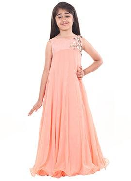 Chiquitita By Payal Bahl Peach Kids Gown