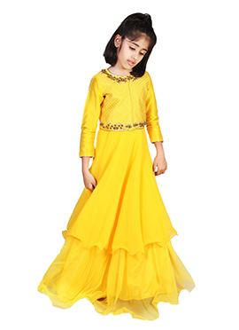 Chiquitita By Payal Bahl Yellow Kids Gown