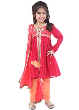Chiquitita Deep Red Kids Anarkali Suit