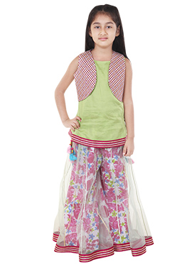 Chiquitita Green N Wine Sharara For Girls