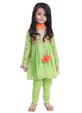 Chiquitita Light Green Kids Anarkali Suit