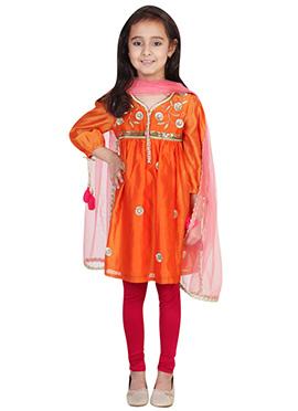 Chiquitita Orange Kids Anarkali Suit
