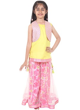 Chiquitita Yellow N Pink Sharara For Girls