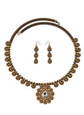 Choker Golden Colored Necklace Set