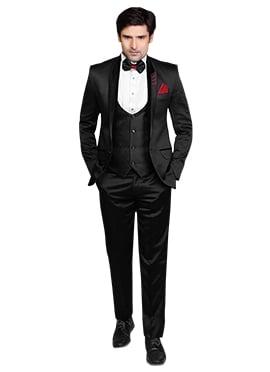 Classic Black Viscose Lapel Style Suit