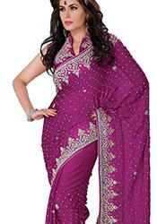 Classy Look Crystals Enhanced Chiffon Saree