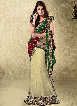 Classy Tri Colored Lehenga Style Saree