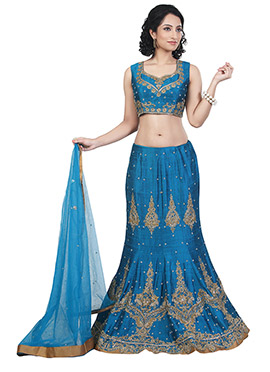 Cobalt Blue Art Dupion Silk A Line Lehenga Choli