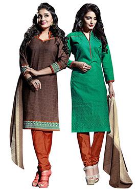 Combo Set Brown N Green Churidar Suit