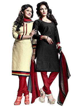 Combo Set Cream N Black Churidar Suit