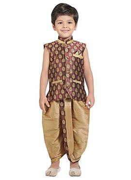 Copper Brown Kids Dhoti Kurta Set