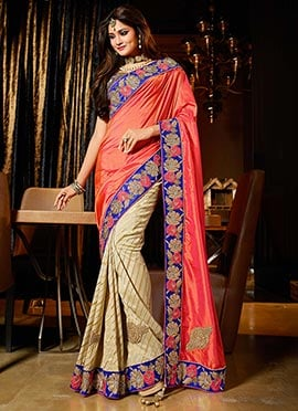 Coral Orange N Beige Half N Half Saree