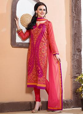 Coral Peach Chanderi Silk Churidar Suit