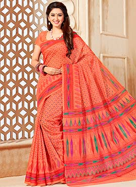 Coral Peach Cotton Printed Saree