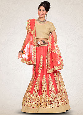 Coral Peach Embroidered A Line Lehenga Choli