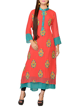 Coral Peach Georgette Embroidered Long Kurti