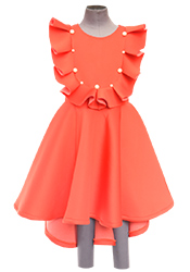 Fayon Coral Peach Lycra Kids Dress KDDFY1730