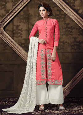 Coral Pink Art Silk Palazzo Suit