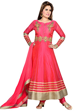 Coral Pink Chanderi Anarkali Suit