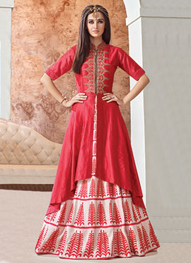 Coral Pink Chanderi Long Choli Lehenga