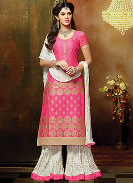 Coral Pink Chanderi Palazzo Suit