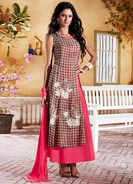Coral Pink Cotton Anarkali Suit