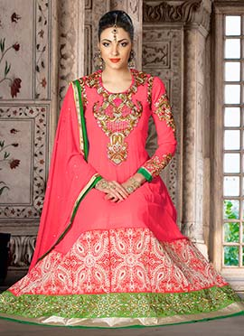 Coral Pink Embroidered Anarkali Suit