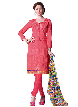 Coral Pink Embroidered Churidar Suit