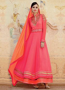 Coral Pink Georgette Anarkali Suit