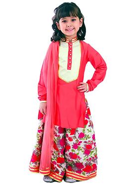 Coral Pink Kidology Sharara Suit