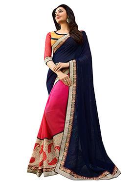 Pink N Blue Kajal Aggarwal Half N Half Saree