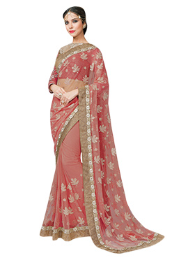 Coral Pink Net Embroidered Saree