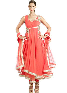 Coral Pink Net Layered Anarkali Suit