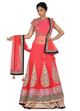 Coral Pink Net N Pure Silk Long Choli Lehenga