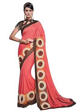 Coral Pink Resham Embroidered Saree