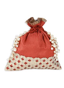 Coral Red Art Silk Potli Bag