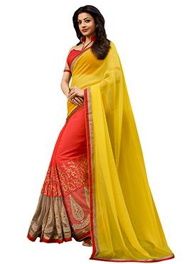 Orange N Yellow Kajal Aggarwal Half N Half Saree
