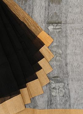 Cotton Black N Gold Saree