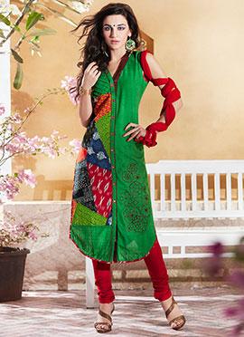 Cotton Green Printed Churidar Suit