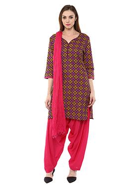 Cotton Pink N Mustard Salwar Suit